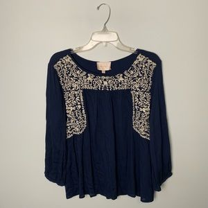 Skies Are Blue Embroidered Navy Top